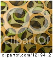 Clipart Of A 3d Abstract Green And Orange Cyber Camouflage Texture Royalty Free Vector Illustration