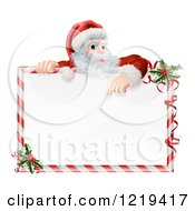 Santa Pointing Down At A Candy Cane Frame Sign