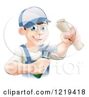 Poster, Art Print Of Happy Worker Man Wearing A Hat And Holding A Hammer And Degree