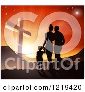 Clipart Of A Silhouetted Christian Family Walking Towards A Cross At Sunset Royalty Free Vector Illustration
