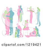 Clipart Of Pink Blue And Green Family Silhouettes Royalty Free Vector Illustration