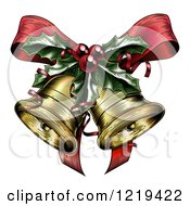 Clipart Of Engraved Christmas Bells With Holly And A Bow Royalty Free Vector Illustration