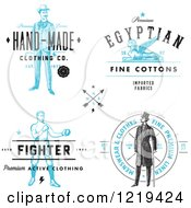Clipart Of Vintage Clothing And Linen Labels With Sample Text 2 Royalty Free Vector Illustration
