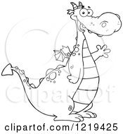 Clipart Of An Outlined Happy Chubby Dragon Waving Royalty Free Vector Illustration
