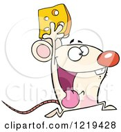 Clipart Of A Successful White Mouse Running With Cheese Royalty Free Vector Illustration