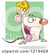 Clipart Of A Happy White Mouse Running With Cheese Over Green Royalty Free Vector Illustration