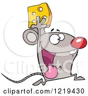 Clipart Of A Successful Mouse Running With Cheese Royalty Free Vector Illustration