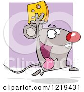 Clipart Of A Happy Mouse Running With Cheese Over Purple Royalty Free Vector Illustration