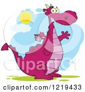 Clipart Of A Friendly Chubby Purple Dragon Waving On A Sunny Day Royalty Free Vector Illustration