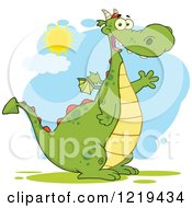 Clipart Of A Friendly Chubby Green Dragon Waving On A Sunny Day Royalty Free Vector Illustration