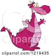 Clipart Of A Happy Chubby Purple Dragon Waving Royalty Free Vector Illustration by Hit Toon