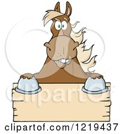 Clipart Of A Brown Draft Horse Over A Wooden Sign Royalty Free Vector Illustration by Hit Toon