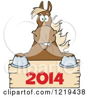 Clipart Of A Brown Draft Horse Over A Wooden New Year 2014 Sign Royalty Free Vector Illustration