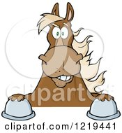 Clipart Of A Brown Draft Horse Over A Sign Royalty Free Vector Illustration