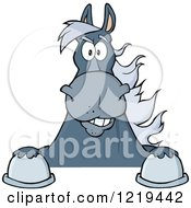 Clipart Of A Gray Draft Horse Over A Sign Royalty Free Vector Illustration
