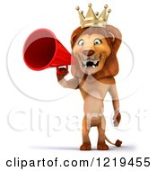 Clipart Of A 3d Lion King Using A Megaphone Royalty Free Illustration
