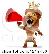 Clipart Of A 3d Lion King Using A Megaphone 2 Royalty Free Illustration