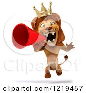 Clipart Of A 3d Lion King Roaring Into A Megaphone Royalty Free Illustration