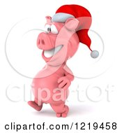 Clipart Of A 3d Walking Christmas Pookie Pig Wearing A Santa Hat Royalty Free Illustration