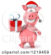 Clipart Of A 3d Walking Christmas Pookie Pig Carrying A Present Royalty Free Illustration