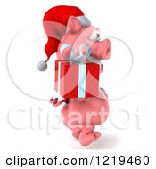 Clipart Of A 3d Walking Christmas Pookie Pig Carrying A Present 2 Royalty Free Illustration