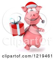 Clipart Of A 3d Walking Christmas Pookie Pig Carrying A Present 3 Royalty Free Illustration