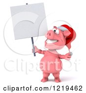 Clipart Of A 3d Christmas Pookie Pig Holding A Sign Royalty Free Illustration