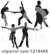 Clipart Of A Black Silhouetted Latin Dance Couples 6 Royalty Free Vector Illustration