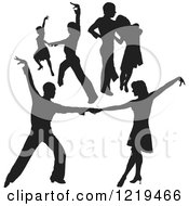 Clipart Of A Black Silhouetted Latin Dance Couples 7 Royalty Free Vector Illustration