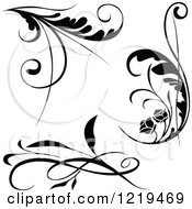 Clipart Of Black And White Floral Designs Royalty Free Vector Illustration by dero