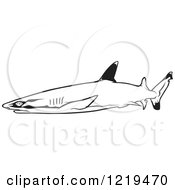 Clipart Of A Black And White Whitetip Reef Shark Royalty Free Vector Illustration by dero