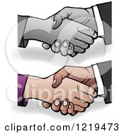 Poster, Art Print Of Grayscale And Colored Shaking Hands With Shadows