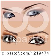 Clipart Of Female Eyes With Makeup 2 Royalty Free Vector Illustration by dero