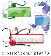Clipart Of A Green Purple And Red Text Boxes And Flowers Royalty Free Vector Illustration by dero