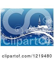 Clipart Of A Winter Church With Snowflakes And Waves On Blue Royalty Free Vector Illustration