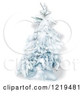 Clipart Of A Snow Flocked Evergreen Tree On White Royalty Free Vector Illustration