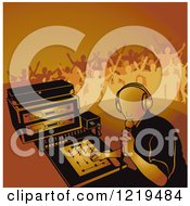 Clipart Of A Dj Mixing A Record And Silhouetted Dancers In Orange Tones Royalty Free Vector Illustration