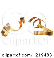 Clipart Of Curly Gold Ribbons Royalty Free Vector Illustration