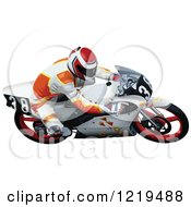 Clipart Of A Man Cutting A Turn On A Motorcycle Royalty Free Vector Illustration by dero