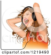 Young Woman Siging And Wearing Headphones