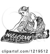 Retro Clipart Of A Black And White Retro Teenage Girl Laying Out A Welcome Mat For Boys Royalty Free Vector Illustration