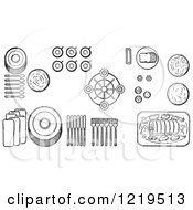 Cartoon Of A Black And White Layout Of Proper Place Settings Of Of A Buffet Table Royalty Free Vector Clipart