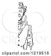 Black And White Retro Cut Off Stern Man Holding Up A Finger