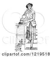 Retro Clipart Of A Black And White Retro Teenage Girl Looking Thoughtful And Standing With Books On Steps Royalty Free Vector Illustration