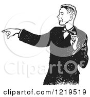 Retro Clipart Of A Black And White Retro Pointing Teenage Boy In A Tux Royalty Free Vector Illustration by Picsburg