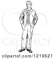 Retro Clipart Of A Black And White Retro Teenage Guy Standing With His Hands In His Pockets Royalty Free Vector Illustration