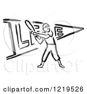 Black And White Retro Baseball Player Batting Over A Pennant Flag