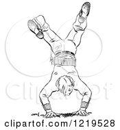 Retro Clipart Of A Black And White Retro Teenage Boy Break Dancing Royalty Free Vector Illustration by Picsburg