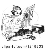 Retro Clipart Of A Black And White Retro Teen Girl Reading A Newspaper On The Floor Royalty Free Vector Illustration