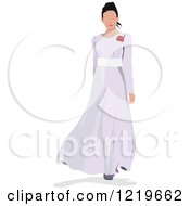 Clipart Of A Bride Modeling A Dress Royalty Free Vector Illustration